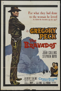 """The Bravados (20th Century Fox, 1958). One Sheet (27"""" X 41""""). Western. Starring Gregory Peck, Joan Collins, St..."""