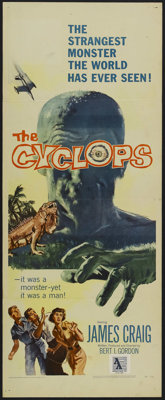 "The Cyclops (Allied Artists, 1957). Insert (14"" X 36""). Sci-Fi Horror. Starring James Craig, Gloria Talbott, L..."