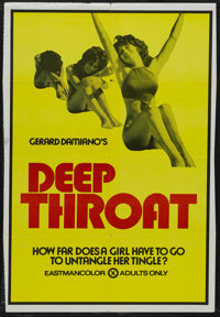 "Deep Throat (Aquarius Releasing, 1972). One Sheet (27"" X 42""). Adult. Starring Linda Lovelace, Harry Reems, Do..."