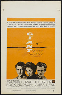 "Giant (Warner Brothers, R-1963). Window Card (14"" X 22""). Drama. Starring Elizabeth Taylor, Rock Hudson and Ja..."