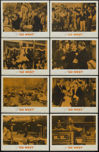 "Go West (MGM, R-1962). Lobby Card Set of 8 (11"" X 14""). Comedy. Starring the Marx Brothers, John Carroll, Dian..."