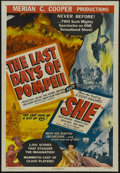"Movie Posters:Adventure, The Last Days of Pompeii/She Combo (RKO, R-1948). One Sheet (27"" X 41"") Style A. Adventure. Starring Preston Foster, Alan Ha..."