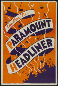 """Paramount Headliners Stock Poster (Paramount, 1934). One Sheet (27"""" X 41""""). Musical. These shorts featured som..."""