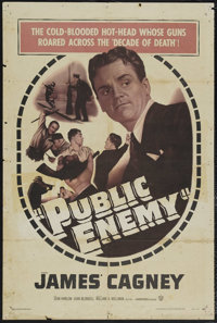 "The Public Enemy (Warner Brothers, R-1954). One Sheet (27"" X 41""). Crime. Starring James Cagney, Jean Harlow..."