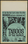 "Movie Posters:Documentary, Taboos of the World (AIP, 1963). Window Card (14"" X 22""). Documentary. Starring Vincent Price and Laila Novak. Directed by R..."