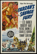 "Movie Posters:Action, Tarzan's Savage Fury (RKO, 1952). One Sheet (27"" X 41"") Style A.Action Adventure. Starring Lex Barker, Dorothy Hart, Patric..."