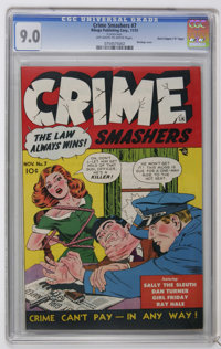 """Crime Smashers #7 Davis Crippen (""""D"""" Copy) (Ribage Publishing, 1951) CGC VF/NM 9.0 Off-white to white pages. T..."""
