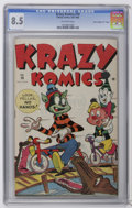 "Golden Age (1938-1955):Funny Animal, Krazy Komics #19 Davis Crippen (""D"" Copy) (Timely, 1945) CGC VF+8.5 Off-white pages. This stands as the only copy graded ab..."