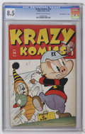 """Golden Age (1938-1955):Funny Animal, Krazy Komics #24 Davis Crippen (""""D"""" Copy) (Timely, 1946) CGC VF+8.5 Cream to off-white pages. Highest grade yet assigned by..."""