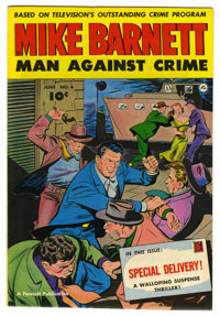Mike Barnett, Man Against Crime #4 Mile High pedigree (Fawcett, 1952) Condition: NM. Mike has his hands full on the cove...