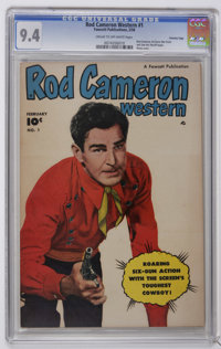 Rod Cameron Western #1 Crowley Copy pedigree (Fawcett, 1950) CGC NM 9.4 Cream to off-white pages. Rod Cameron, his horse...