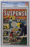 "Golden Age (1938-1955):Horror, Suspense #4 Davis Crippen (""D"" Copy) (Atlas, 1950) CGC VF 8.0Off-white pages. This outstanding copy is unsurpassed, accordi..."