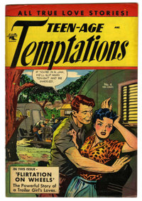 "Teen-Age Temptations #4 Davis Crippen (""D"" Copy) pedigree (St. John, 1953) Condition: VF-. Matt Baker cover. O..."