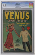 """Golden Age (1938-1955):Romance, Venus #7 Davis Crippen (""""D"""" Copy) (Atlas, 1949) CGC FN+ 6.5 Creamto off-white pages. This stands as the only CGC-graded cop..."""