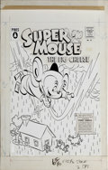 Original Comic Art:Covers, Gene Fawcette - Supermouse, The Big Cheese Giant Summer Issue #2and #45 Cover Original Art (Pines, 1958). Supermouse to the...(Total: 2 Items)