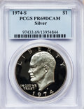 Proof Eisenhower Dollars: , 1974-S $1 Silver PR69 Deep Cameo PCGS. PCGS Population (11870/10).NGC Census: (748/0). Numismedia Wsl. Price for problem ...