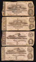 Confederate Notes:1862 Issues, T52 $10 1862 Two Examples. T53 $5 1862 Two Examples.. ... (Total: 4notes)