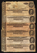 Confederate Notes:1864 Issues, T67 $20 1864 Six Examples.. ... (Total: 6 notes)