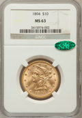 Liberty Eagles: , 1894 $10 MS63 NGC. CAC. NGC Census: (5152/416). PCGS Population(1615/105). Mintage: 2,470,778. Numismedia Wsl. Price for p...
