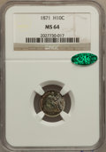 Seated Half Dimes: , 1871 H10C MS64 NGC. CAC. NGC Census: (118/50). PCGS Population(87/47). Mintage: 1,873,960. Numismedia Wsl. Price for probl...