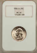 Washington Quarters: , 1936-D 25C MS64 NGC. NGC Census: (305/208). PCGS Population(633/404). Mintage: 5,374,000. Numismedia Wsl. Price for proble...
