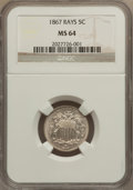 Shield Nickels: , 1867 5C Rays MS64 NGC. NGC Census: (180/61). PCGS Population(138/35). Mintage: 2,019,000. Numismedia Wsl. Price for proble...