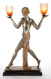 AN ART DECO STYLE GILT BRONZE AND GLASS FIGURAL LAMP Maker unidentified, American, 20th century Marks: Bron