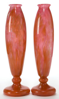 PAIR OF SCHNEIDER GLASS VASES, Épinay-sur-Seine, France, circa 1925 Marks: SCHNEIDER 14-1/4 inches