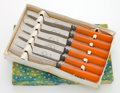 Decorative Arts, British:Other , A BOXED SET OF SIX ENGLISH STAINLESS STEEL AND BAKELITE BUTTERSPREADERS . Maker unknown, Sheffield, England, circa 1930. Ma...