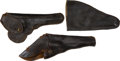 Military & Patriotic:Indian Wars, 3 19th Century Holsters One Marked Le Page Pocket Pistol Case...(Total: 3 Items)
