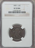 Half Cents: , 1805 1/2 C Small 5, No Stems VF25 NGC. NGC Census: (5/177). PCGSPopulation (9/111). Mintage: 814,464. Numismedia Wsl. Pric...