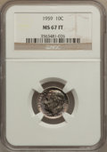Roosevelt Dimes: , 1959 10C MS67 Full Bands NGC. NGC Census: (54/1). PCGS Population(18/0). Mintage: 85,700,000. Numismedia Wsl. Price for pr...