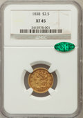 Classic Quarter Eagles: , 1838 $2 1/2 XF45 NGC. CAC. NGC Census: (29/194). PCGS Population(19/97). Mintage: 47,030. Numismedia Wsl. Price for proble...