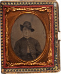 Photography:Tintypes, Ninth Plate Tintype Of Federal Soldier In Very Fine Papier MacheInlaid Case. ...