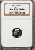 Proof Roosevelt Dimes, 1963 10C Doubled Die Reverse PR68 Ultra Cameo NGC. FS-017. NGCCensus: (2/2). PCGS Population (453/190). Numismedia Wsl. ...