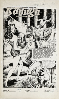 Robert Webb - Ka'a'nga Comics #7, Splash page 1 Original Art (Fiction House, 1951). In an ancient Roman arena, K'a'anga...