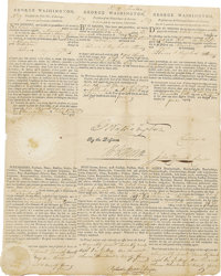 """Signed by the """"Father of Our Country"""" and the Author of the Declaration of Independence  George Washington and..."""