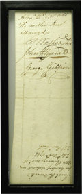 "Autographs:U.S. Presidents, Washington OKs a Potomac Company Bill. Document Signed. Two pages,recto and verso, 8"" x 3"", Alexandria, November 25, 1785; ..."