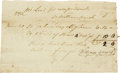 "Autographs:U.S. Presidents, Receipt for Bundles of Straw Used at Mount Vernon. One page, 6.75""x 4.25"", Mount Vernon, July 5, 1792. This original docume..."