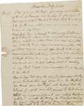 "Autographs:U.S. Presidents, John Adams Important Autograph Letter Signed ""John Adams"",1.25 pages, 6.5"" x 8"", separate conjoined sheets. Braintree, ..."