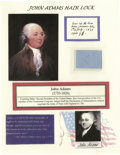 Miscellaneous:Ephemera, John Adams: Three strands of Hair from the Second U.S. President. Nicely mounted for display, and accompanied by a certifica...
