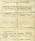 Autographs:U.S. Presidents, James Madison Partly Printed Document Signed as president, Mar. 22,1815. A military service land grant to David Hopkins, Ja...
