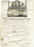"Autographs:U.S. Presidents, Madison and Monroe Signed 1812 Ship's Papers. Document Signed onpartially printed vellum. Signed ""James Madison"" as pre..."