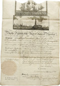 "Autographs:U.S. Presidents, James Madison and James Monroe Ships Papers Signed: ""James Madison "" as president and ""Jas Monroe"", as secretary of ..."