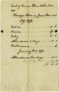 """Autographs:U.S. Presidents, Two John Quincy Adams Unsigned Manuscript Invoices, each one page, 3.75"""" x 6"""", Massachusetts, January, 1793. Quite scarce do..."""