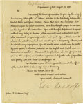 "Autographs:Statesmen, Edmund Randolph writes to John Quincy Adams Important ManuscriptLetter Signed: ""Edm. Randolph"", one page, 7.75"" x 9.75""..."