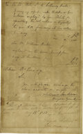 """Autographs:U.S. Presidents, Andrew Jackson Autograph Document Signed. One page, 7.25"""" x 12"""", np, May 19, 1813. Addressed to William B. Lewis, who served..."""