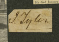 "Autographs:U.S. Presidents, John Tyler Signature ""J. Tyler"" on a 1.25"" x .75"" slip, [noplace, no date]. Mounted to a 6"" x 3.5"" card with biographic..."
