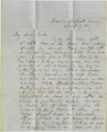 """Autographs:U.S. Presidents, Franklin Pierce Autograph Letter Signed """"Frank Pierce"""".Three pages with integral address leaf, 8"""" x 10"""", Concord, New H..."""