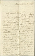 "Autographs:Celebrities, First Lady Jane Pierce Autograph Letter Signed ""Jane"". Fourpages, 4.25"" x 7"", mourning stationery, Washington, D.C., Ju..."